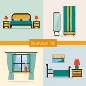 Bedroom set with furniture — Stock Vector