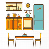 Kitchen furniture outline sketch — Stock Vector