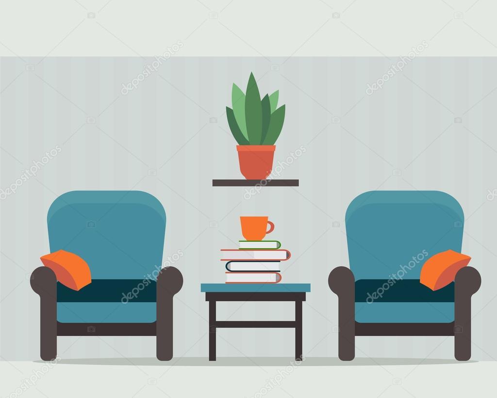 Sedie e tavolino interno di casa vettoriali stock for Piani di casa di 4000 piedi quadrati