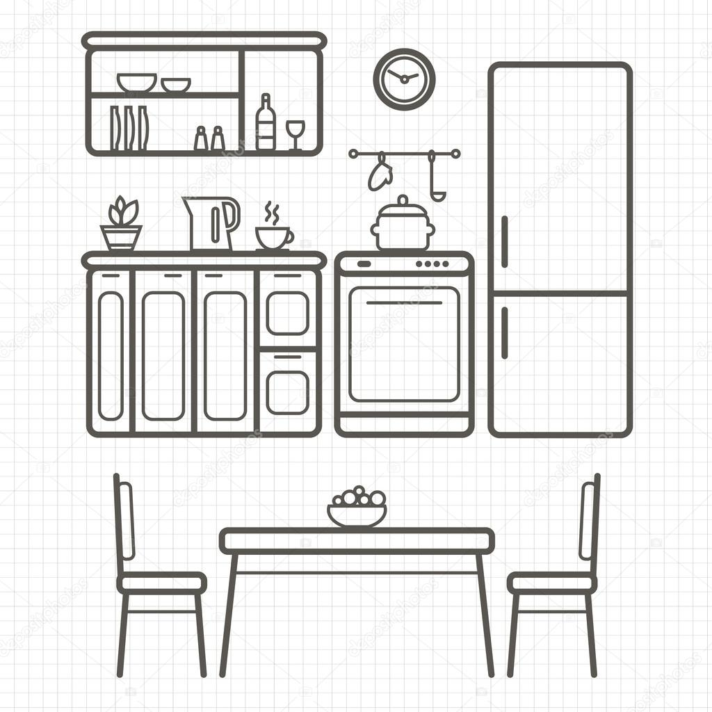 Kitchen furniture outline sketch — Stock Vector © Elvetica ...