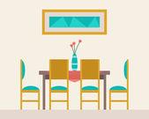 Mesa de comedor para fecha — Vector de stock