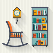 Book shelf and rocking chair — Stock Vector