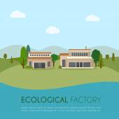 Ecological factory in flat style — Stock Vector