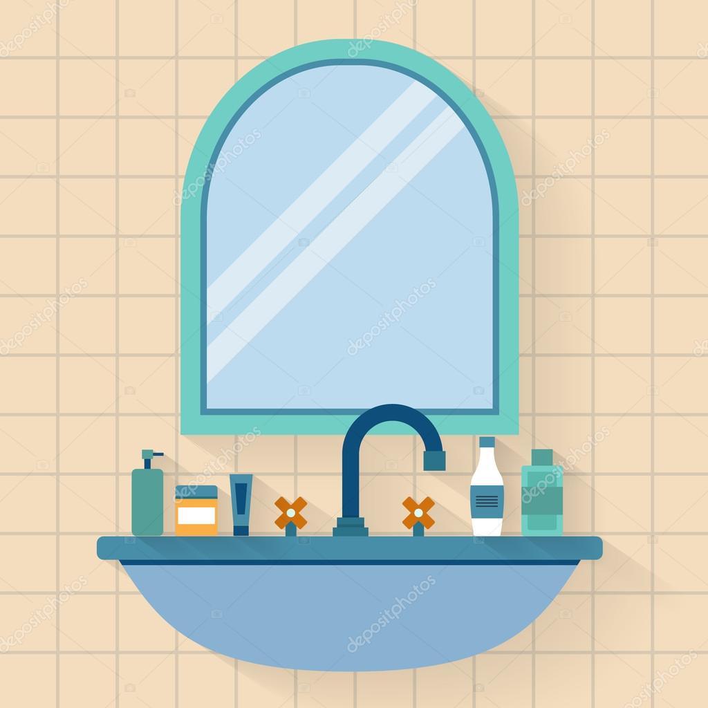 Bathroom sink with mirror — Stock Vector © Elvetica #77299620