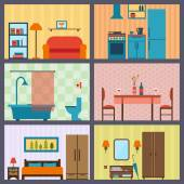 House rooms with furniture icons — Stock Vector