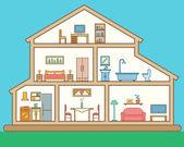 Ausführliche moderne Haus innen — Stockvektor