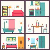 Haus Zimmer mit Möbel-Ikonen — Stockvektor