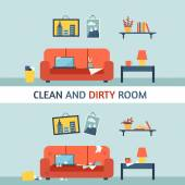 Dirty and clean room — Stock Vector