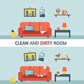 Kirli ve temiz oda — Stok Vektör