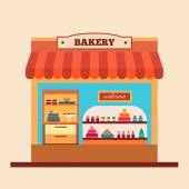 Bakery shop in flat style — Stock Vector