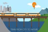 Train on railway and bridge — Stock Vector