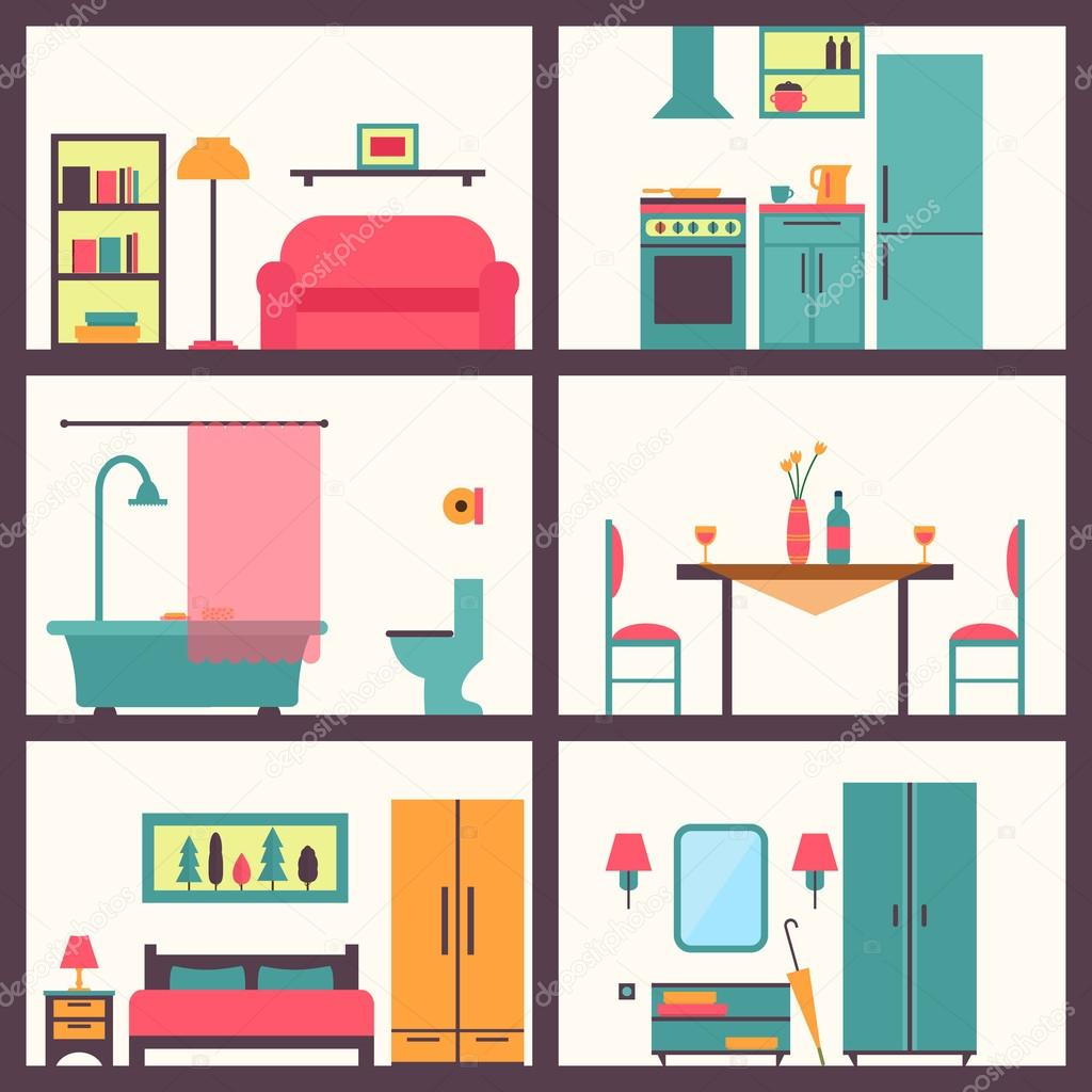 House Rooms With Furniture Icons Stock Vector 77300274