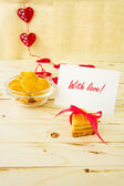 Card with Message With Love in the Letter and Cookies in the Sha — Zdjęcie stockowe