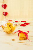 Cookies in the Shape of Heart at Day St Valentine on Wooden Back — Zdjęcie stockowe