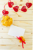 Card with blank Letter and Cookies in the Shape of Heart — Stock Photo