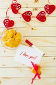 Card with Message I Love You in the Letter and Cookies in the Sh — Zdjęcie stockowe