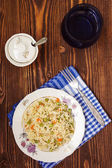 A plate of rice with vegetables, selective focus — Foto de Stock