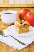 Homemade apple pie and tea on wooden table — Foto de Stock