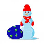 Illustration of snowman with bag — Stockvektor