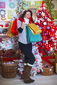 Fashion girl excited for Christmas Gifts — Stok fotoğraf