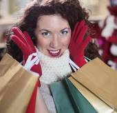 Compulsive shopping before Christmas — Stock Photo