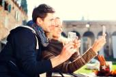 Couple gets a Selfie while drinking aperitif — Stock Photo