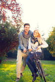 Couple cycling — Stock Photo