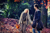Man and woman walking holding hands in autumn park — Stock Photo