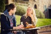 Couple drinks an aperitif — Stock Photo