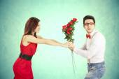 Funny Valentine's Day, series of different approaching acts — Stock Photo