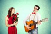 Funny Valentine's Day, series of different approaching acts — Stockfoto