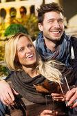 Happy Sweet Couple Having Glass of Wine — Zdjęcie stockowe