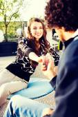 Pretty young woman flirting with her boyfriend — Foto de Stock