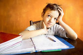 A young boy worried on homework — Stock Photo