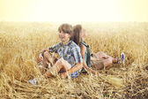 Children having fun in an wheat field at sunset — Stock Photo
