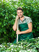 Farmer ready for work with his shovel — Stock Photo