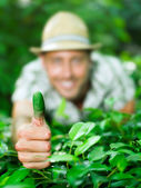 Farmer shows his green thumb — Stock Photo