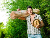 Farmer ready for working in a greenhouse — Stock Photo