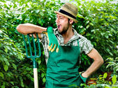 Funny farmer jokes with his pitchfork — Stock Photo