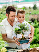 Father and son gardening. Father educate son to care a plant — Stock Photo
