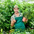 Постер, плакат: Farmer shows with passion his beloved plants and scores ok