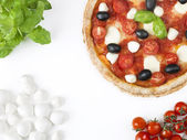 Pizza with colours of italian flag — Stock Photo