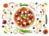 Italian pizza with its ingredients — Stock Photo