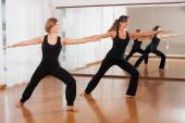 Two women making a fitness exercises in synchrony — Stock Photo