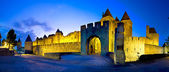 Panoramic of Castle Carcassonne in night scene — Stock Photo