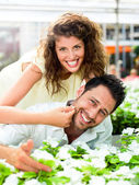 Couple have fun choosing flower in a greenhouse — Stock Photo