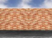 Red brick wall in a street — Stock Photo
