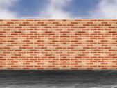 Kırmızı tuğla duvar bir sokakta — Stok fotoğraf