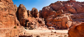 Panoramic city of Petra Jordan — Stock Photo
