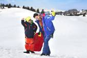Father and son having fun in mountain — Stock Photo
